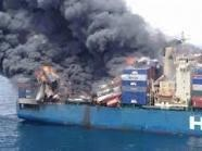 A ship catches fire at Bosaaso harbor in Somalia